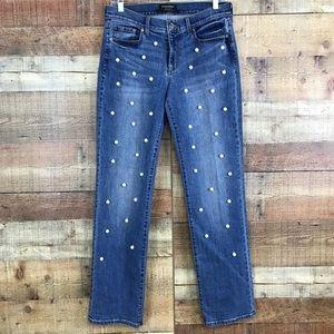 Banana Republic Girlfriend Pearl Embellished Jeans